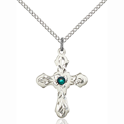 Sterling Silver 7/8in Ornate Cross Pendant with 3mm Emerald Bead & 18in Chain