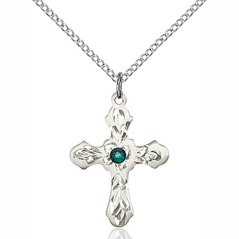 Sterling Silver 7/8in Emerald Bead Ornate Cross Pendant & 18in Chain