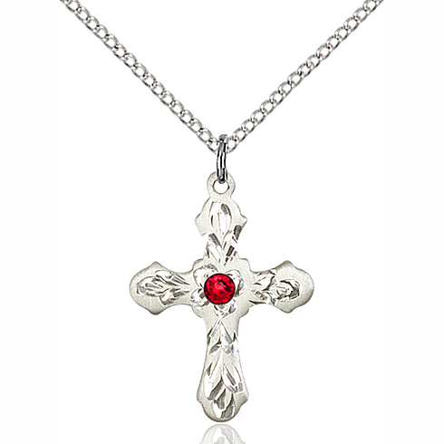 Sterling Silver 7/8in Ornate Cross Pendant with 3mm Ruby Bead & 18in Chain