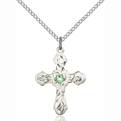 Sterling Silver 7/8in Ornate Cross Pendant with 3mm Peridot Bead & 18in Chain