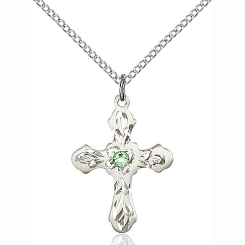 Sterling Silver 7/8in Ornate Peridot Bead Cross Pendant & 18in Chain