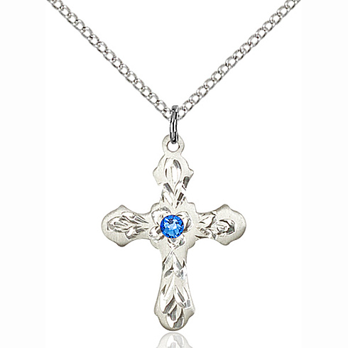 Sterling Silver 7/8in Ornate Cross Pendant with 3mm Sapphire Bead & 18in Chain