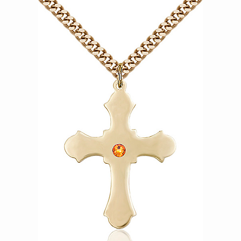Gold Filled 1 1/4in Cross Pendant with 3mm Topaz Bead & 24in Chain
