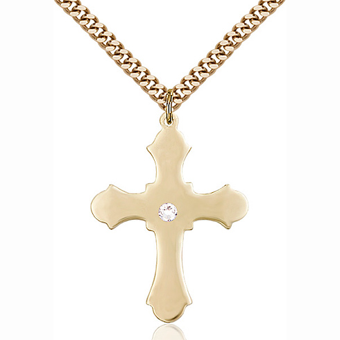 Gold Filled 1 1/4in Cross Pendant with 3mm Crystal Bead & 24in Chain