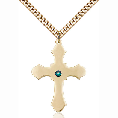 Gold Filled 1 1/4in Cross Pendant with 3mm Emerald Bead & 24in Chain