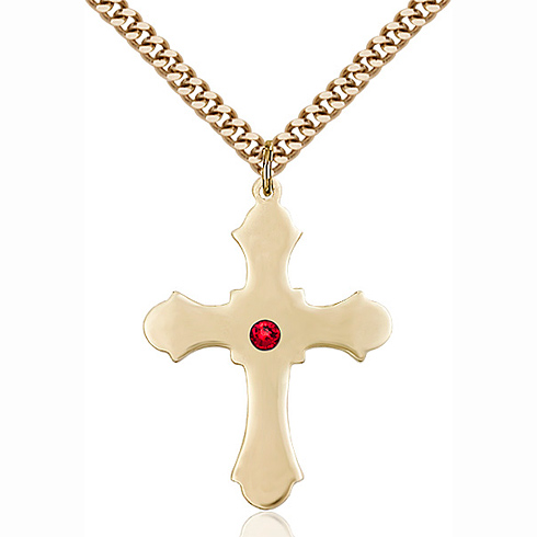 Gold Filled 1 1/4in Cross Pendant with 3mm Ruby Bead & 24in Chain