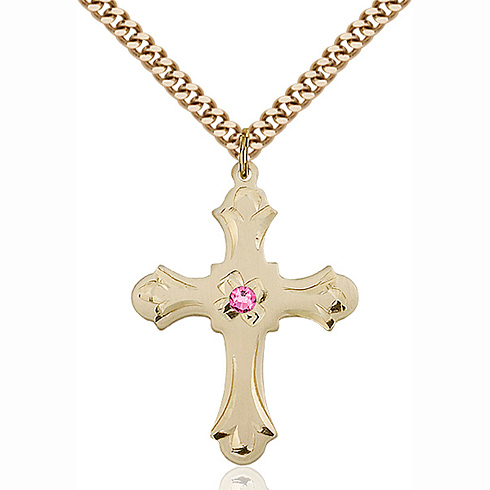 Gold Filled 1 1/4in Floral Cross Pendant with 3mm Rose Bead & 24in Chain