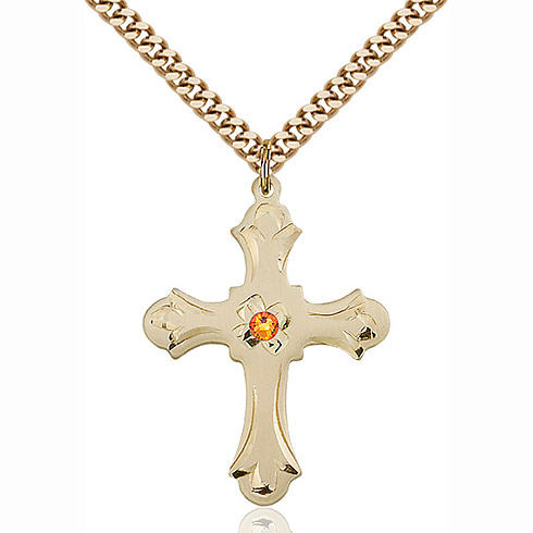 Gold Filled 1 1/4in Floral Cross Pendant with 3mm Topaz Bead & 24in Chain