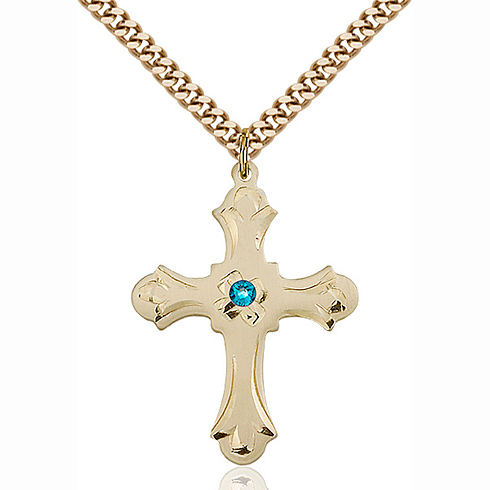 Gold Filled 1 1/4in Floral Cross Pendant with 3mm Zircon Bead & 24in Chain
