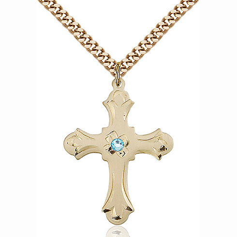 Gold Filled 1 1/4in Floral Cross Pendant with 3mm Aqua Bead & 24in Chain
