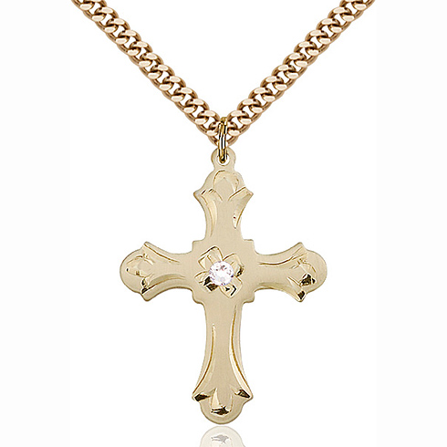 Gold Filled 1 1/4in Floral Cross Pendant with 3mm Crystal Bead & 24in Chain