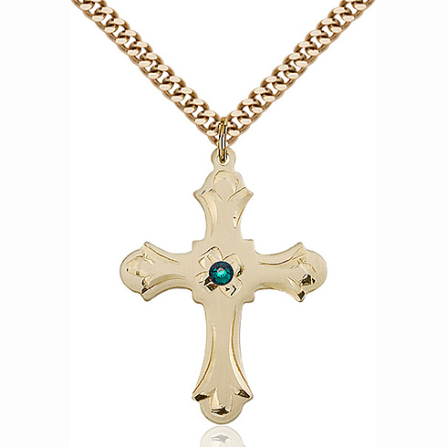 Gold Filled 1 1/4in Floral Emerald Bead Cross Pendant & 24in Chain