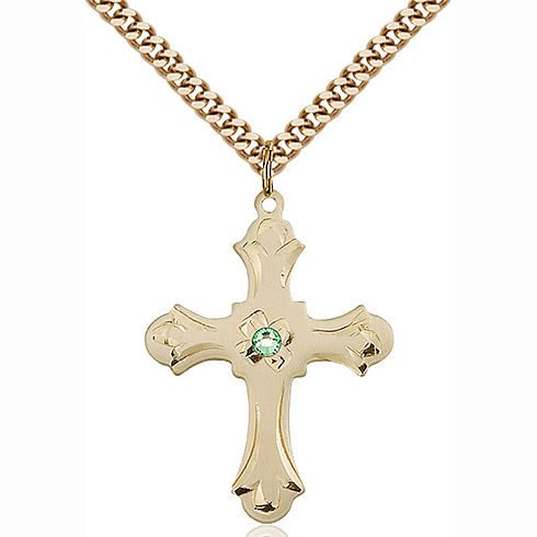 Gold Filled 1 1/4in Floral Cross Pendant with 3mm Peridot Bead & 24in Chain