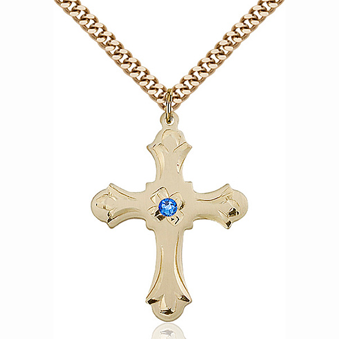Gold Filled 1 1/4in Floral Cross Pendant with 3mm Sapphire Bead & 24in Chain