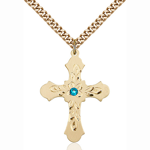 Gold Filled 1 1/4in Baroque Cross Pendant with 3mm Zircon Bead & 24in Chain