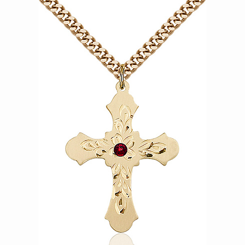 Gold Filled 1 1/4in Baroque Cross Pendant with 3mm Garnet Bead & 24in Chain