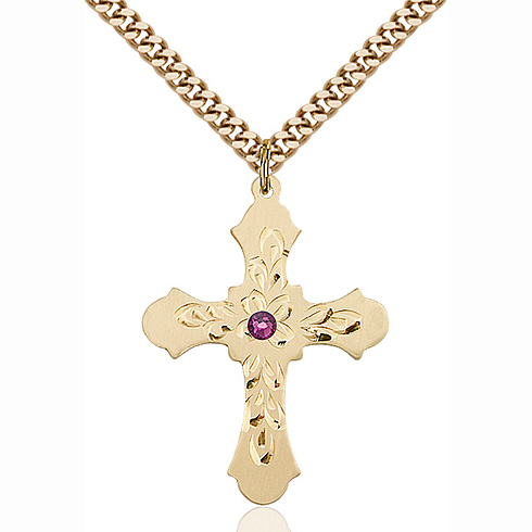 Gold Filled 1 1/4in Baroque Cross Pendant with 3mm Amethyst Bead & 24in Chain