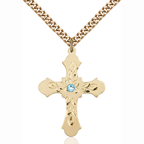 Gold Filled 1 1/4in Baroque Cross Pendant with 3mm Aqua Bead & 24in Chain