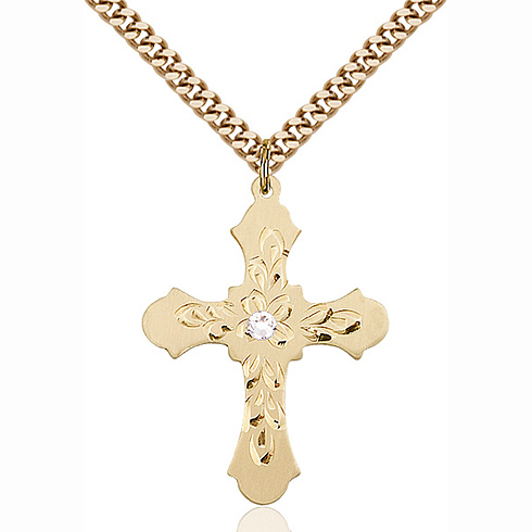 Gold Filled 1 1/4in Baroque Cross Pendant with 3mm Crystal Bead & 24in Chain
