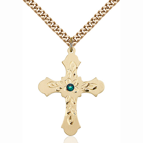 Gold Filled 1 1/4in Baroque Cross Pendant with 3mm Emerald Bead & 24in Chain
