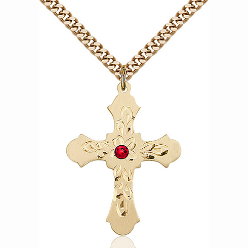 Gold Filled 1 1/4in Baroque Cross Pendant with 3mm Ruby Bead & 24in Chain