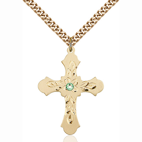 Gold Filled 1 1/4in Baroque Cross Pendant with 3mm Peridot Bead & 24in Chain