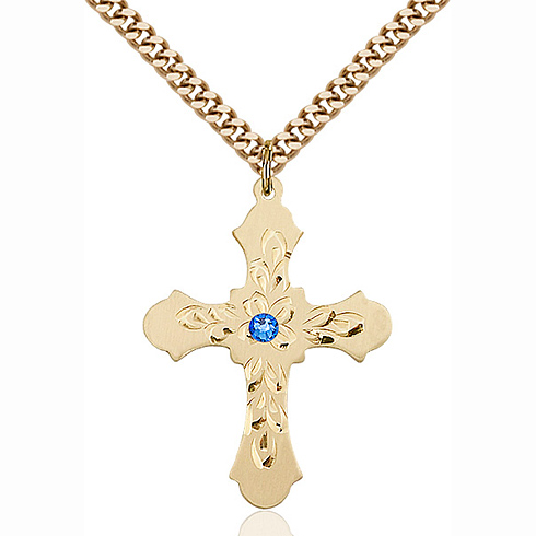 Gold Filled 1 1/4in Baroque Cross Pendant with 3mm Sapphire Bead & 24in Chain