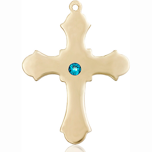 14kt Yellow Gold 1 1/4in Cross with 3mm Zircon Bead