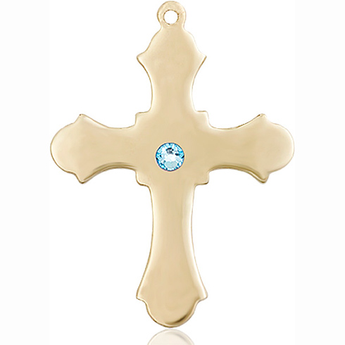 14kt Yellow Gold 1 1/4in Cross with 3mm Aqua Bead