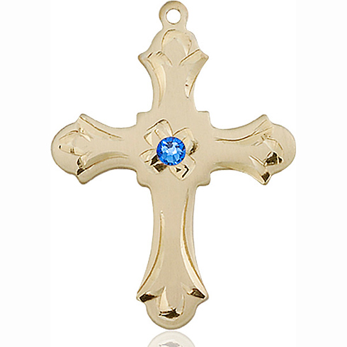 14kt Yellow Gold 1 1/4in Floral Cross with 3mm Sapphire Bead
