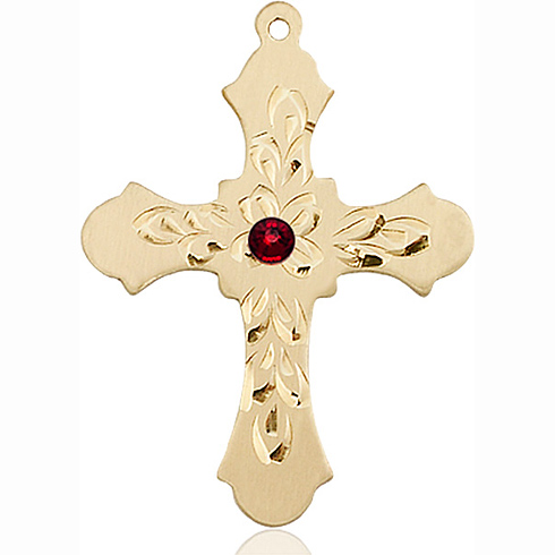 14kt Yellow Gold 1 1/4in Baroque Cross with 3mm Garnet Bead