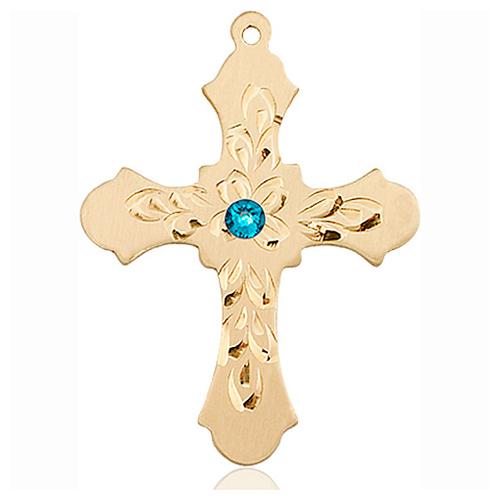 14kt Yellow Gold 1 1/4in Baroque Cross with 3mm Zircon Bead