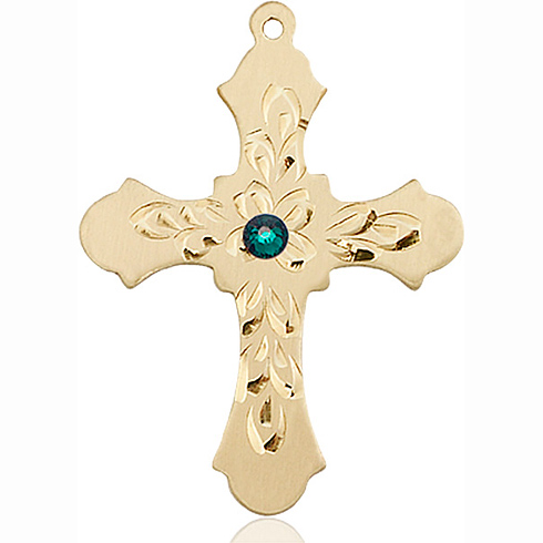 14kt Yellow Gold 1 1/4in Baroque Cross with 3mm Emerald Bead