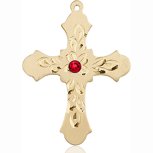 14kt Yellow Gold 1 1/4in Baroque Cross with 3mm Ruby Bead