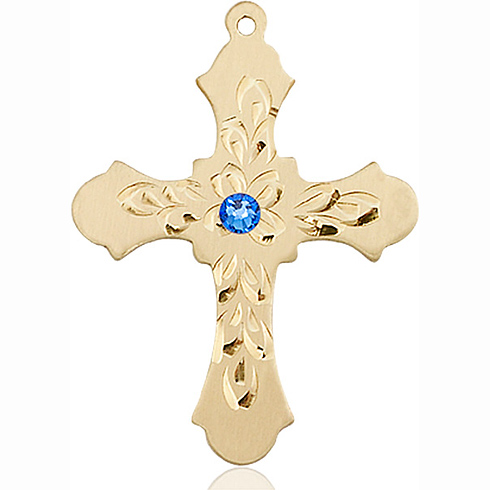 14kt Yellow Gold 1 1/4in Baroque Cross with 3mm Sapphire Bead