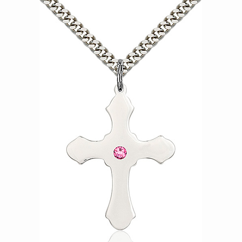 Sterling Silver 1 1/4in Cross Pendant with 3mm Rose Bead & 24in Chain