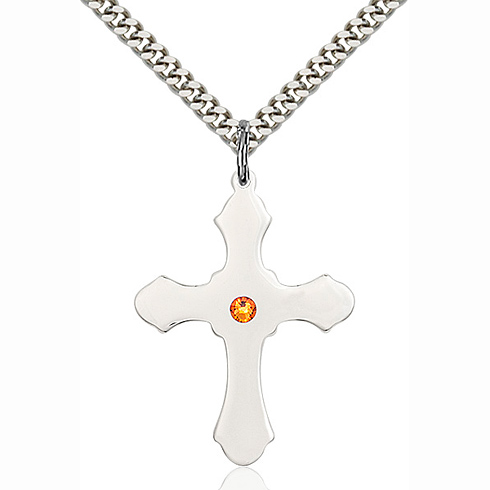 Sterling Silver 1 1/4in Cross Pendant with 3mm Topaz Bead & 24in Chain