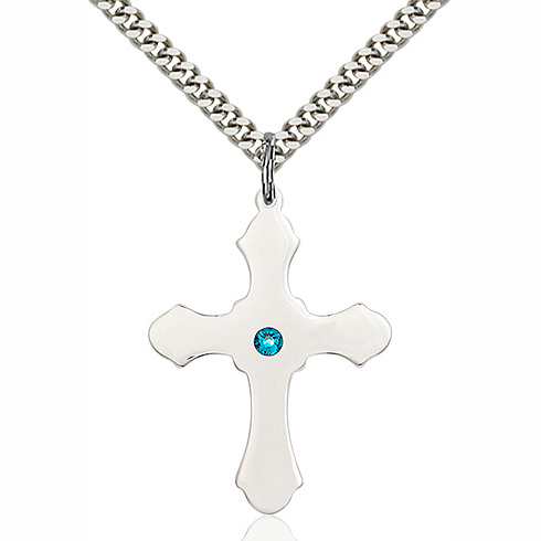 Sterling Silver 1 1/4in Cross Pendant with 3mm Zircon Bead & 24in Chain