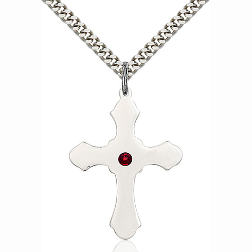 Sterling Silver 1 1/4in Cross Pendant with 3mm Garnet Bead & 24in Chain