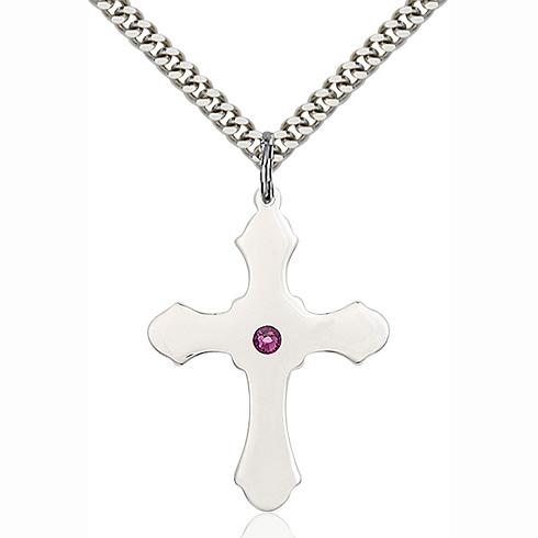 Sterling Silver 1 1/4in Amethyst Bead Cross Pendant & 24in Chain