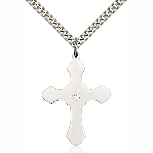 Sterling Silver 1 1/4in Cross Pendant with 3mm Crystal Bead & 24in Chain