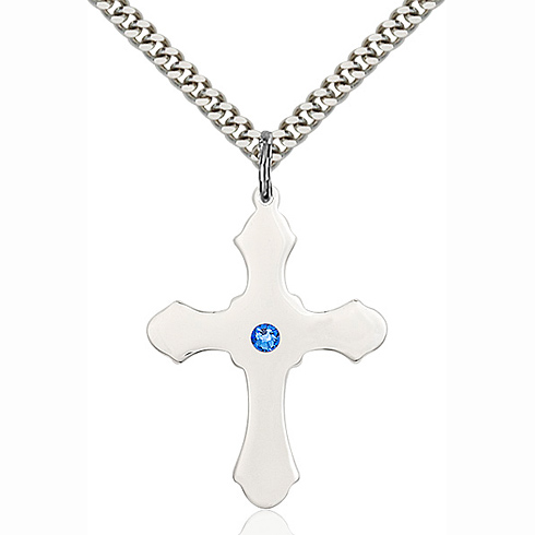 Sterling Silver 1 1/4in Cross Pendant with 3mm Sapphire Bead & 24in Chain