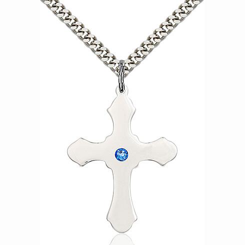Sterling Silver 1 1/4in Sapphire Bead Cross & 24in Chain