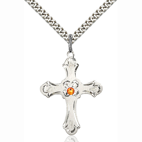 Sterling Silver 1 1/4in Floral Cross Topaz Bead 24in Necklace