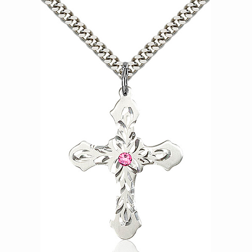Sterling Silver 1 1/4in Baroque Cross Pendant with 3mm Rose Bead & 24in Chain