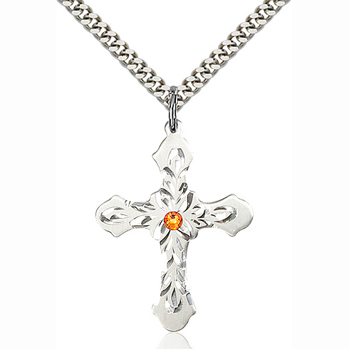 Sterling Silver 1 1/4in Baroque Cross Pendant with 3mm Topaz Bead & 24in Chain