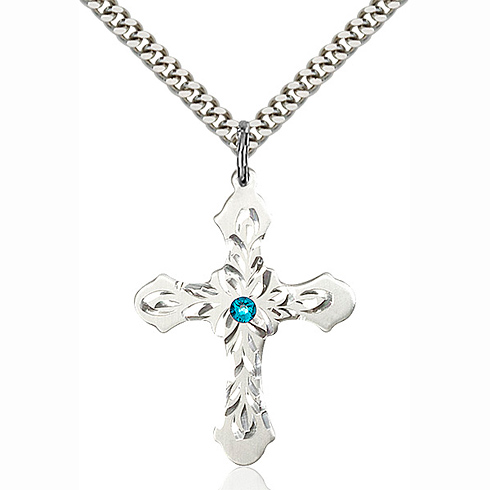 Sterling Silver 1 1/4in Baroque Cross Pendant with 3mm Zircon Bead & 24in Chain