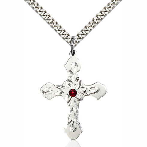 Sterling Silver 1 1/4in Baroque Cross Pendant with 3mm Garnet Bead & 24in Chain