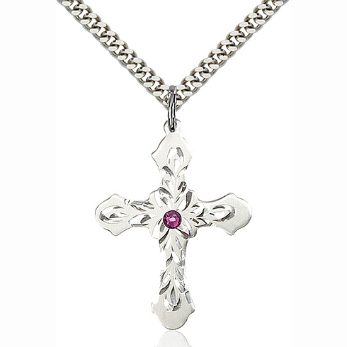 Sterling Silver 1 1/4in Baroque Cross Pendant with 3mm Amethyst Bead & 24in Chain