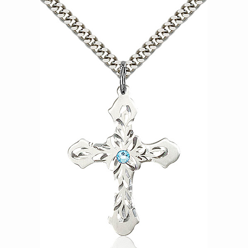 Sterling Silver 1 1/4in Baroque Cross Pendant with 3mm Aqua Bead & 24in Chain